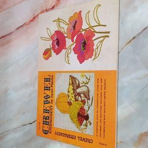 Vintage Crewel Embroidery Pattern Book 1972 Flowers Mushrooms